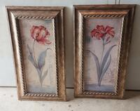 two brown wooden framed painting of flowers Haymarket