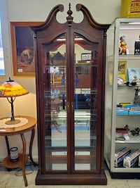 Used Lighted Cherry Curio Display Cabinet By Pulaski ...