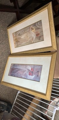 two brown wooden framed painting of woman Belmar, 07719