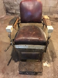 Barbers chair in need of TLC. After restoration can sell for $7000 or more.