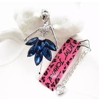 Beautiful NEW Betsey Johnson blue dancer pendant and necklace