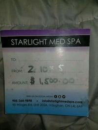 Gift certificate for spa St. Catharines, L2T 2P9