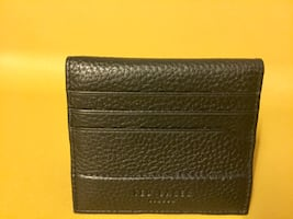 Ted Baker London Genuine Black Leather Bi-Fold Card Holder with Olive Green Color Accents