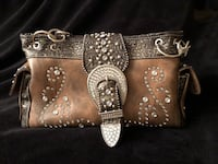 Brown genuine leather and studded purse