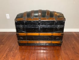 Brown and Black Solid Wood and Leather Antique Chest