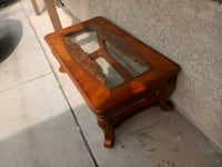 Wood coffee table with glass Henderson