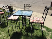 Bar Height Table and 3 Bar Height Iron Chairs...—-PENDING PICK UP Edmonton, T5A 2S8