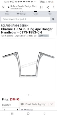 "Handle Bars 16inch - Roland Sands King Ape 1 1/4"" - With Risers Norfolk, 23517"