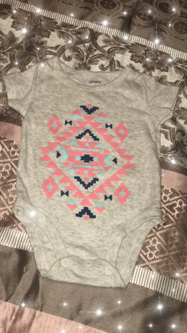 Baby's gray, pink, and blue onesie
