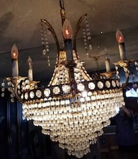 Brown and black beaded chandelier