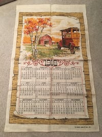 Vintage linen calendar, Hickory Farms 1918 Fort Myers, 33907