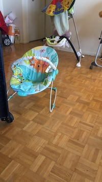 baby's blue and green bouncer Toronto, M9N 2S5