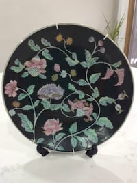 Black Floral Decor Plate