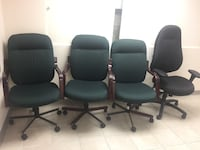 four black leather rolling chairs Brampton, L6T 2C6