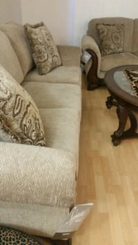 brown fabric sofa with throw pillows Mississauga, L5R 3G7