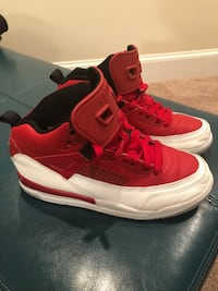 $30—-Jordan's Size 2 Youth—Red and White—Great Condition (Cross posted) 43 mi