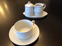 Set of 9 coffee cup, saucers, milk and sugar Vaughan