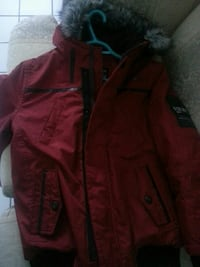 red zip-up parka