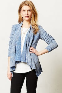 Anthropologie Moth Winnie Wool Open Front Cardigan in blue size small Vancouver, V6E 1W1