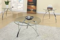 New 3 Piece Glass Table Set Los Angeles