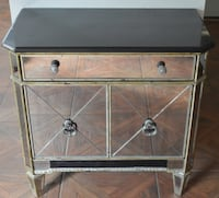 ART DECO STYLE Side Table/Night Stand Black Marble Top w/decorative antique mirrored veneer.  2055 mi