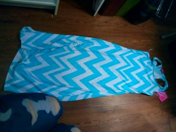 blue and white chevron girls dress
