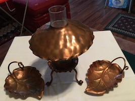 Hammered Copper Hurricane Lamp & 2 Copper Leaf Candy Dishes