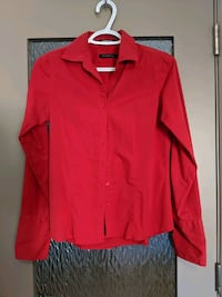 Red long sleeve blouse 4% spandex size small just like new