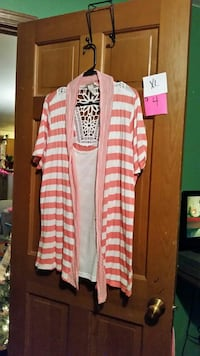 women's pink and white striped cardigan
