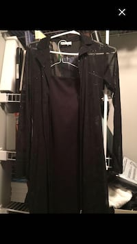 Short Black Knee length spaghetti strap dress with see through knee length matching cardigan  Chestermere, T1X 1W2