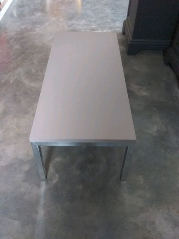 Coffee table painted light gray  12 high  36 wide 16 deep  1