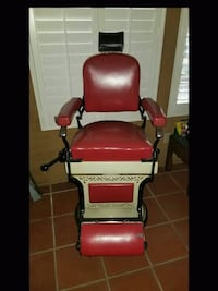 red and black leather padded salon chair Long Beach, 90805
