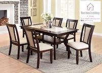 7 Piece Dining Set (Faux Marble Table Top) Ontario, 91761