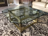 Rectangular clear glass top coffee table  solid brass beveled glass top Spring Hill, 34606