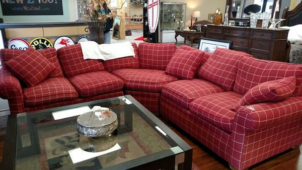Drexel heritage all goose down red sectional sofa
