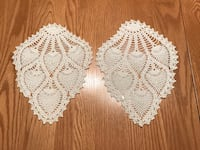 2 vintage hand crocheted arm rest doilies 7x9 Fiskdale, 01518