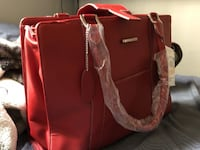 BRAND NEW RED LEATHER LAPTOP BAG M3C 1C2
