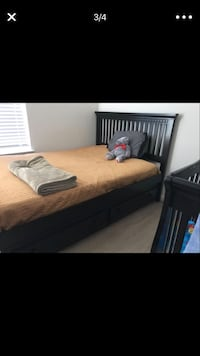 Trundler black wooden bed w/Mattress and pull out frame for 2 Mattress
