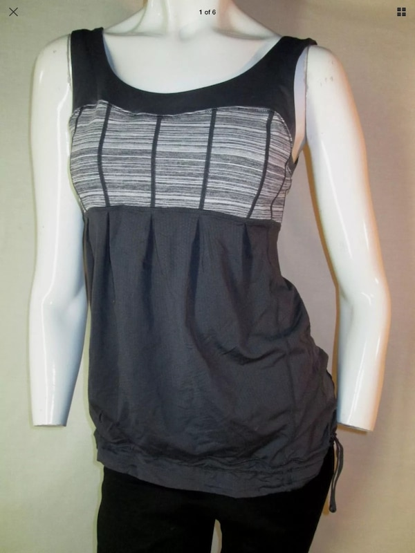 Lululemon 6 Sunset Tank coal strata loose body Luon blend