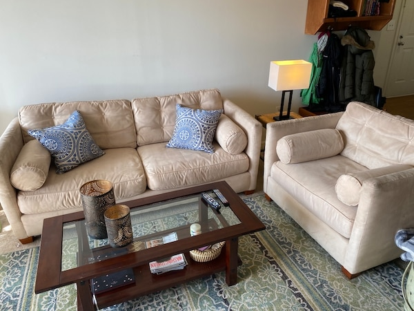 Super comfy suede sofa and chair with ottoman acfe4eae-53b3-4dff-830a-1074215f0b3d