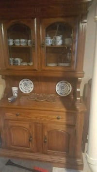 brown wooden cabinet with hutch 292 mi