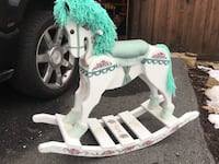 White and green wooden rocking horse miniature Ellicott City, 21042