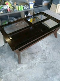 Refinished glass top coffee table