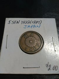 1889 round 5 gold-colored Japanese yen coin with box Chehalis, 98532