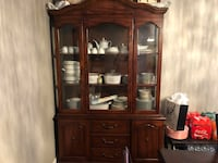 brown wooden china cabinet with glass Richmond Hill, L4S 1E4