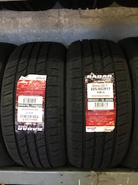 225/45R17 SET OF 4 TIRES ON SALE WE CARRY ALL MAJOR BRAND AND SIZE WE FINANCE NO CREDIT NEEDED  Union City, 94587