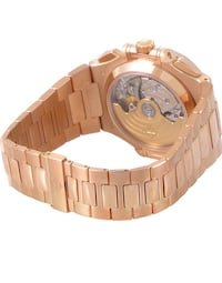 Round gold chronograph watch with link bracelet Washington, 20024