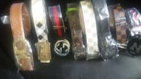 several leather belt lot