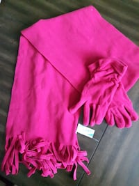 Pink Scarf with Matching Gloves