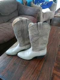 pair of white leather cowboy boots